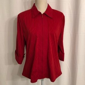 Coldwater Creek red full zip top blouse L